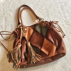 """Hype Leather Purse patchwork with tassels 13""""x13"""""""